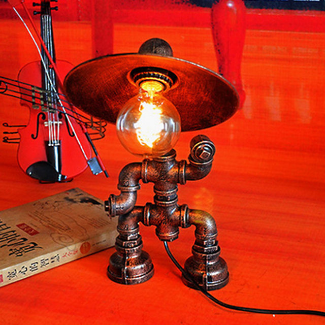 Metal Water Pipe Vintage Desk Lamp Industrial Loft Retro Novelty Robot Table Lamp For Study Room Bar Light