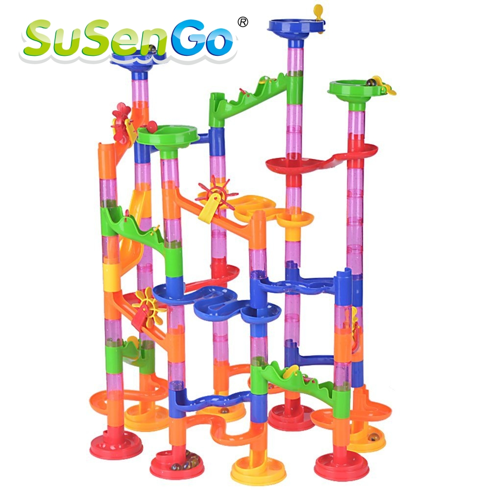 SuSenGo DIY Construction Marble Run Intellect Ball Tracks Game Maze Balls Children Puzzle Set For Children Kids Gift Toys 105pcs new 3d spherical maze magic puzzle ball educational magic intellect ball puzzle balance game magnetic balls for kids 100 steps