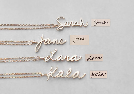 Personalized handwriting name necklace women customized jewelry personalized handwriting name necklace women customized jewelry engraved words pendants necklace christmas gift birthday gift aloadofball Image collections