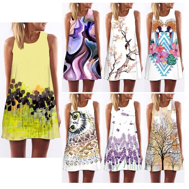 b5b998959ba7 2018 Summer Dress Women Floral Print Chiffon Dress Sleeveless Boho Style  Short Beach Dress Sundress Casual Shift Dresses