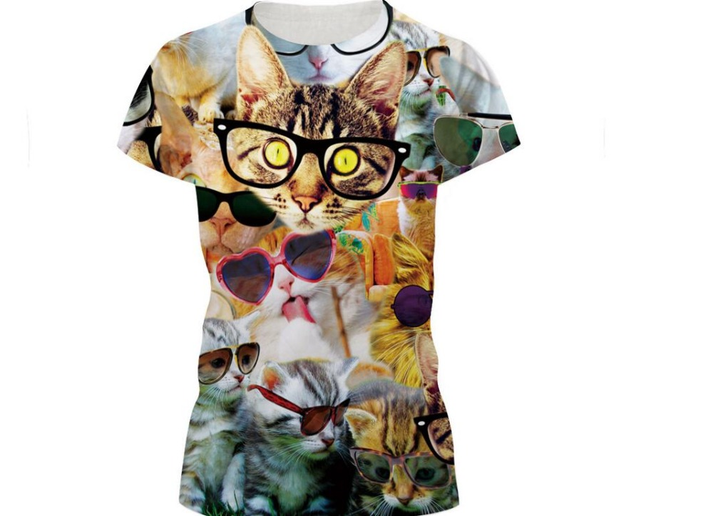 2017 New Summer <font><b>Women</b></font> <font><b>T-shirt</b></font> Hip Hop <font><b>glasses</b></font> lovely cat 3d Print <font><b>Skulls</b></font> Harajuku Men T shirt Short sleeve Causal Tees Tops