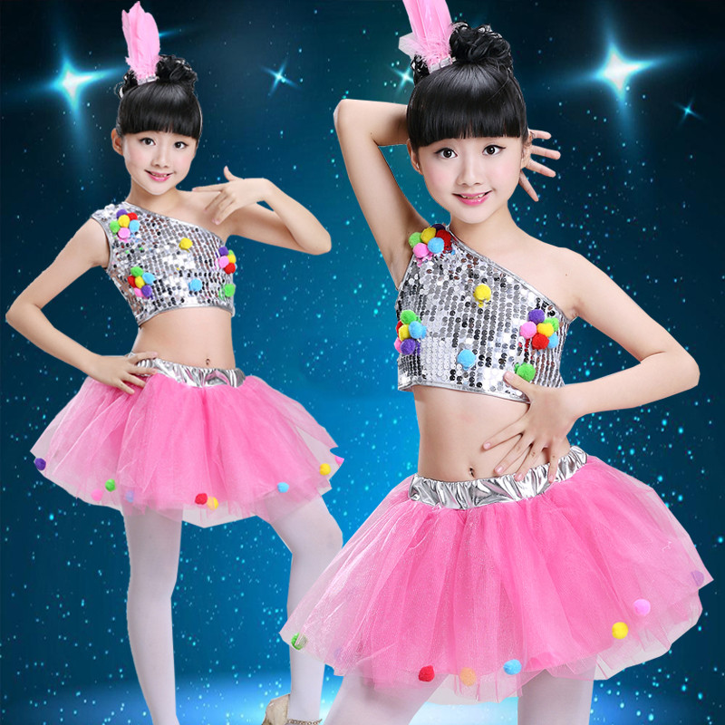 e24160ef9c4d Cut Price Children s Sequins Jazz Dresses Girls Modern Dance ...