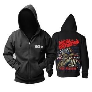 Image 4 - 12 Ontwerpen Harajuku Schedel Dansen Sociale Vervorming Rock Rits Hoodies Jas Punk Metal Sweatshirt Hip Hop Zwart Fleece