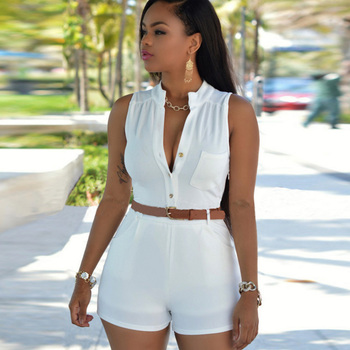 2018 New Women High waist deep v-neck Casual Sleeveless bodycon Ladies Short Pants Overalls Belt plus size tunic solid playsuits photo shoot