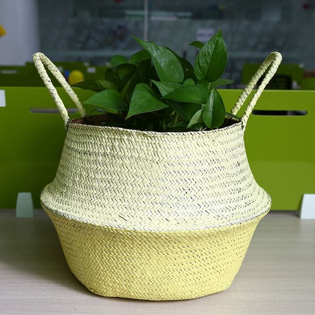 WCIC Seagrass Handmade Flower Pots Rattan Basket Woven Hanging Storage  Baskets Green Plant Basket Nursery Pot