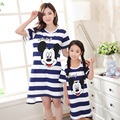 Summer Family Matching Clothing Girl And Mom Women Cotton Pajamas Dress Blue Striped matching mother daughter clothes tracksuit