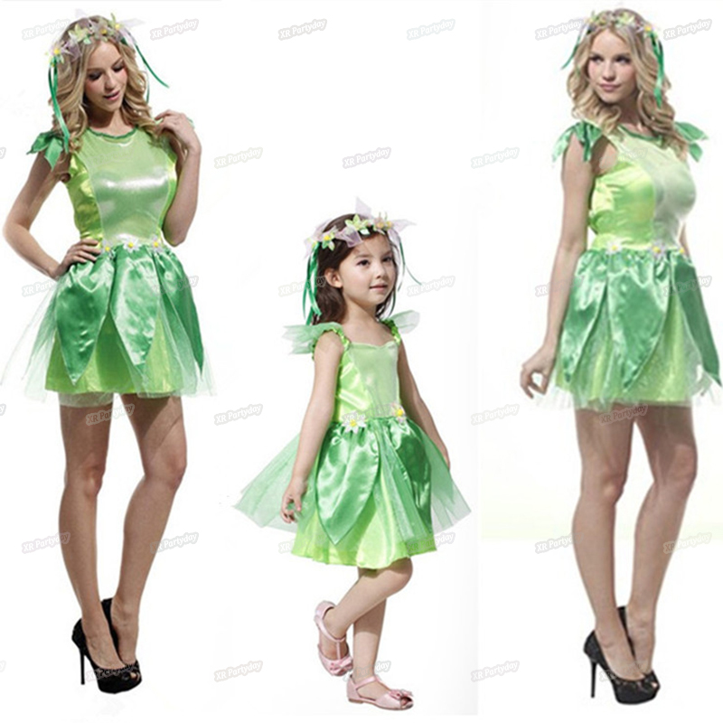 Women Kids Girls Dress Party Green Tutu Elf Costume ...