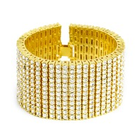 Bling Iced Out 12 Row Simulated Stone Bracelets Women Men Golden Hip Hop Jewelry Gift hand Chains Rhinestone Bangles