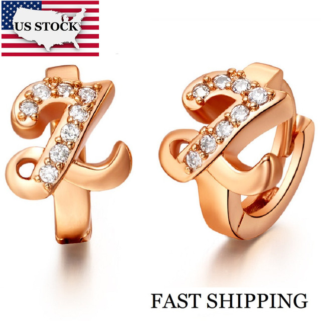 US STOCK Uloveido 5%off Letter R S T U V W X Y Z Earing Fashion Jewelry Rose Gold Color Letter Earrings for Women Cubic Zirconia