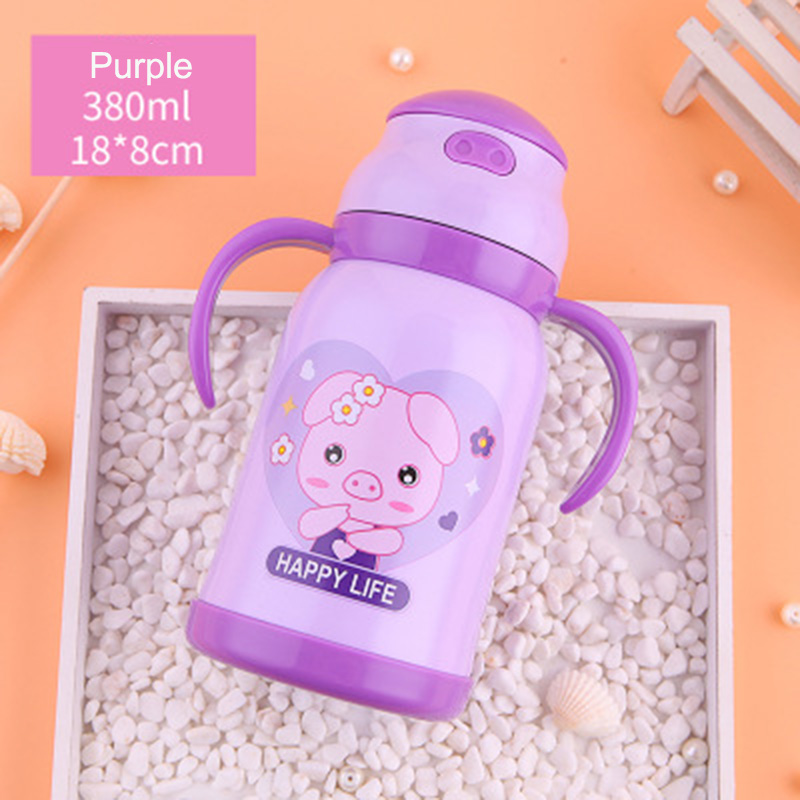 new pig Thermos Cup Kids Thermo Mug soft silicone Straw Insulated 380mlDrink Water Bottle kart Vacuum Flask belt handle Tumbler