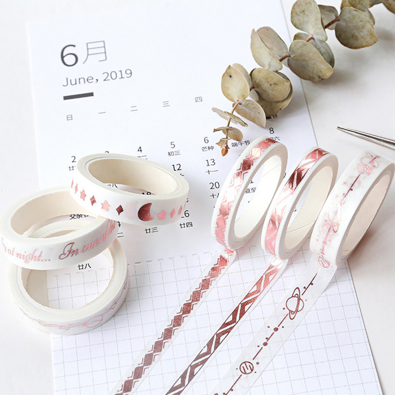 0 7 1cm 3m New Rose gold Fine washi tape DIY decoration scrapbooking planner masking tape adhesive tape label sticker in Office Adhesive Tape from Office School Supplies