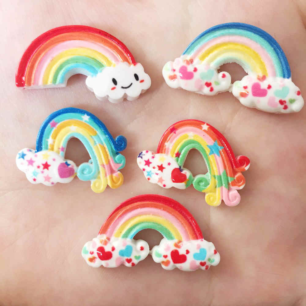 New DIY 10Pcs Resin Variety Rainbow Flatback Stone Child Manual Works DIY Scrapbook R31A
