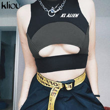 Kliou 2019 zomer vrouwen fitness tank top beha coltrui mouwloze hollow out patchwork crop top brief afdrukken sportkleding tees(China)