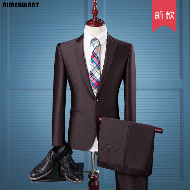 AIMENWANT 2017 New Wedding Suits Europe Slim Career Working Blazer+Pants 2pcs Men One Button Summer Suit Sets Free Shipping