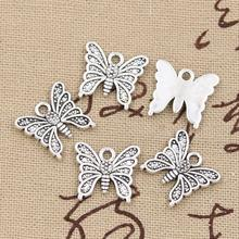 30pcs Charms butterfly 15*14mm Hollow Antique,Zinc alloy pendant fit,Vintage Tibetan Silver,DIY for bracelet necklace