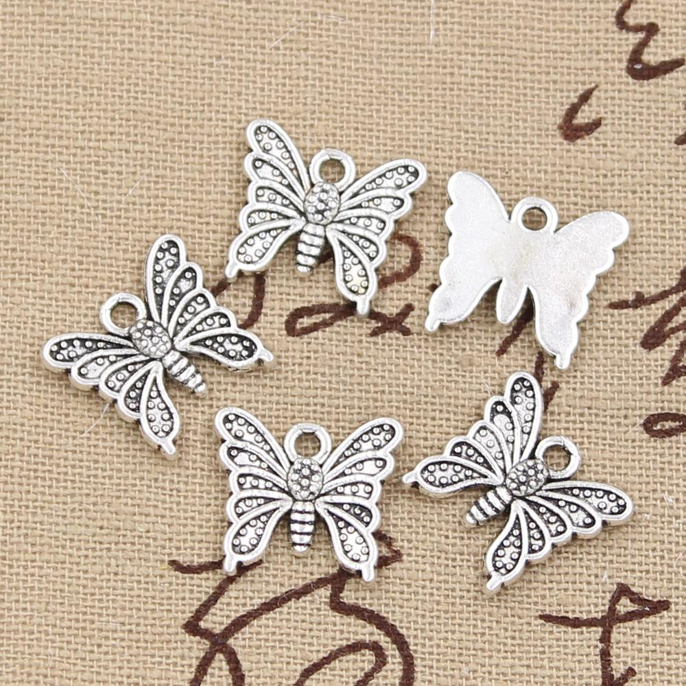 25 шт. подвески бабочки 15x14 мм античный бронзовый, серебристый цвет покрытием Подвески Ювелирных изделий DIY ручной тибетские украшения