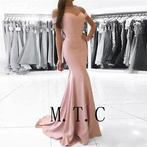 Image 2 - Женское атласное платье подружки невесты, элегантное розовое платье с открытыми плечами, дешевое эластичное платье подружки невесты, 2019