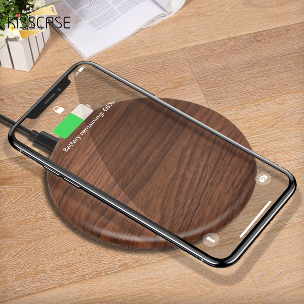 KISSCASE Portable Qi Wireless Charger Slim Wood Pad For Apple iPhone 8 Plus X Smart Phone Charger For Samsung S6 S7 S9 S8 Xiaomi