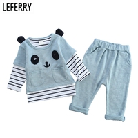 Blue Pink 3PCS Baby Boy Clothes Kids Girls Clothing Sets Children Clothing Toddler Girls Pullover Striped