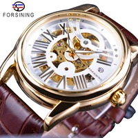 Forsining Official Exclusive Sale Brown Leather Roman Number Retro Luxury Design Men Watch Top Brand Automatic Wristwatch Clock