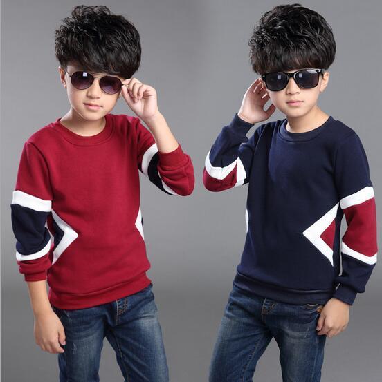 Hechizo Color de moda T-shirt Para Niños de Manga Larga de Lana Para Niños Térmica Vetement Garcon O-cuello de Tocar Fondo Camisetas del Cabrito