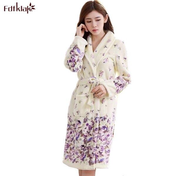 Winter Dressing Gowns Print 6 Colors Long Bathrobe Women s Bathrobe Coat  Female Flannel Nightdress Women Warm Bath Robes Q154 32165fef5