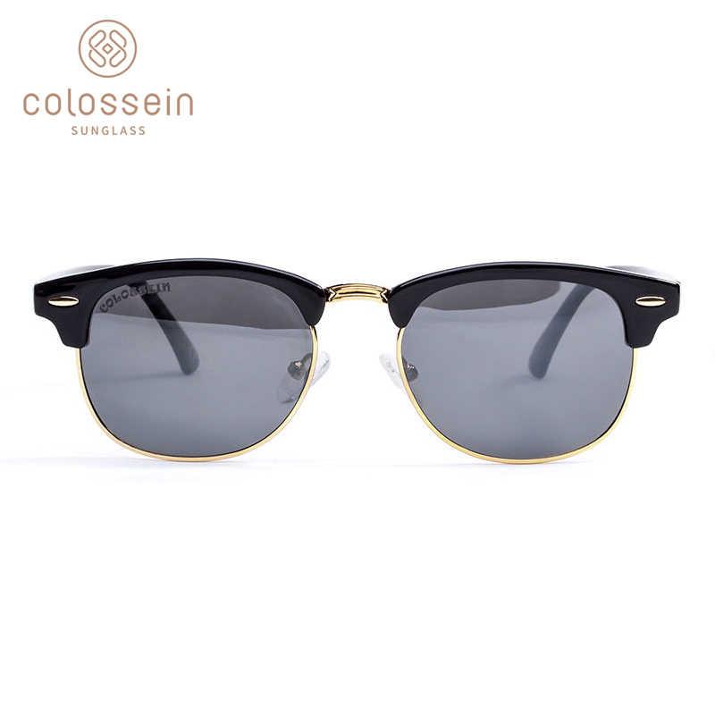 COLOSSEIN Rodada Polarizada Óculos De Sol Para Homens Clássico Da Moda Retro Cores Estilo de Metal Óculos de Sol Eyewear oculos UV400 Cinza Vermelho