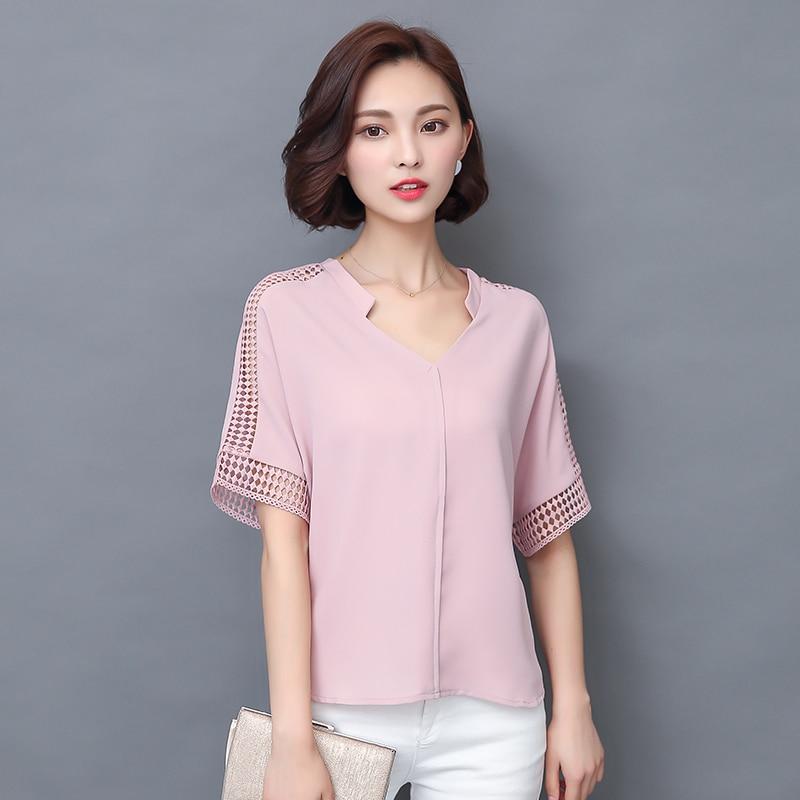 Новый 2016 летняя мода женщины блузки кружева выдалбливают короткие рукавом v-образным вырезом случайные свободные рубашки плюс размер шифон топы 883c 25