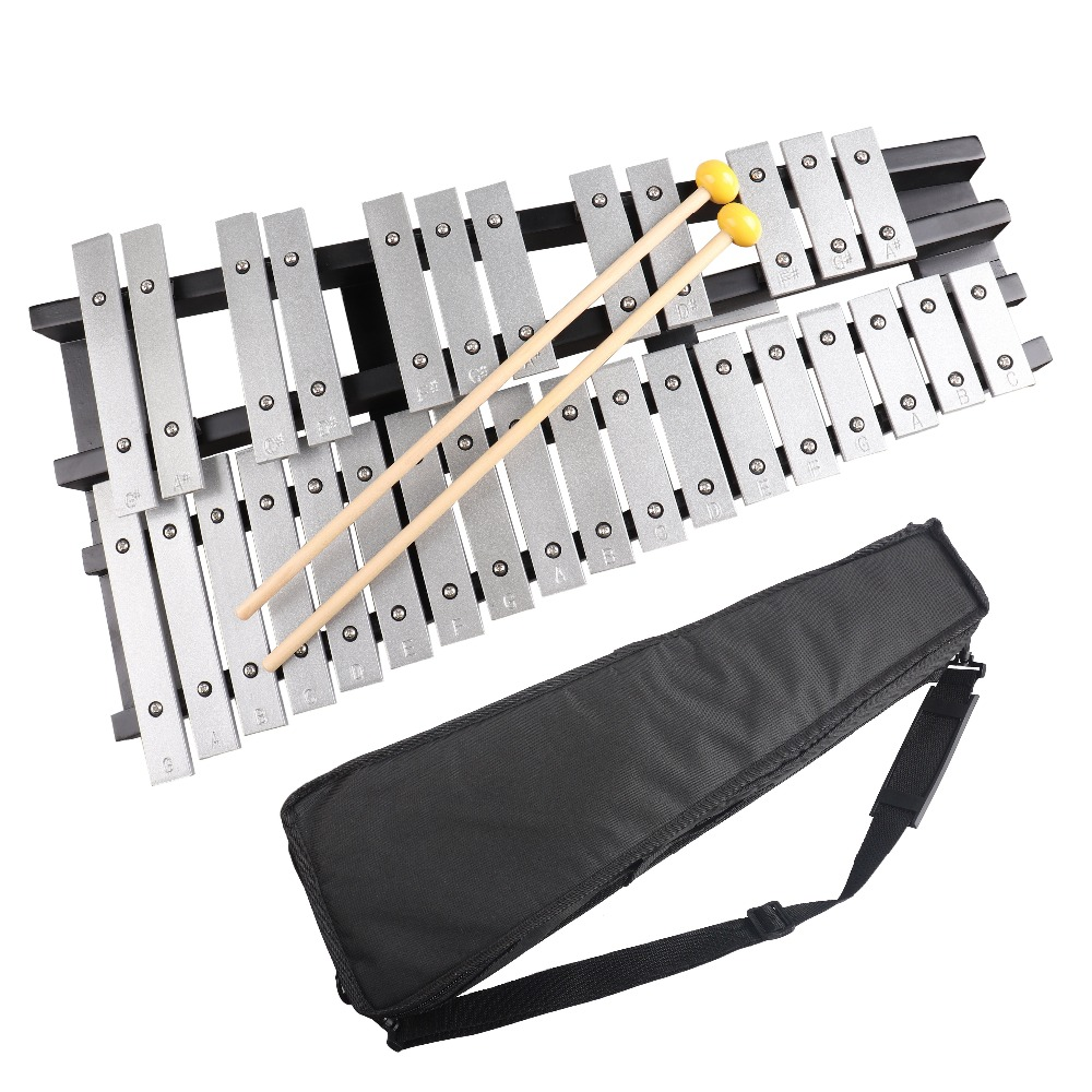 xylophone vibraphone - 30 Note Xylophone Piano Foldable Glockenspiel Vibraphone with Carrying Bag Mallets New Music Education Percussion Instrument