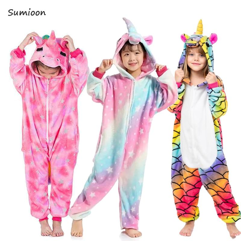 135c184ae Kigurumi Onesie Kids Unicorn Pajamas Baby Animal Panda Pig Jumpsuit Boys  Girls Costume Winter Children Licorne