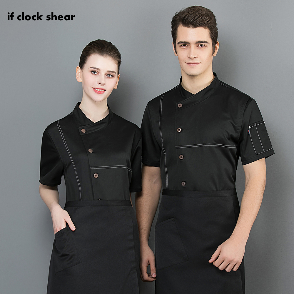 Food Service Restaurant Hotel Kitchen Chef Uniform Short Sleeved Breathable Shirt Cooker Coat Work Clothes Men Chef Jackets New