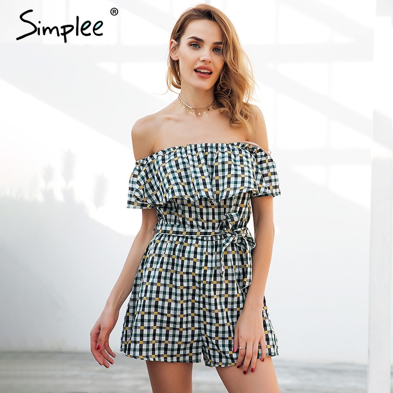 Simplee Off shoulder ruffle plaid jumpsuit romper women Backless sexy sash bow short jumpsuit 2018 Loose casual summer playsuit