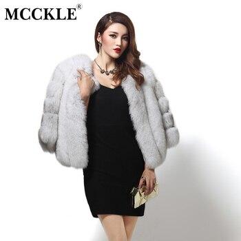 MCCKLE Vintage Fluffy mujeres de piel de imitación abrigo corto ...