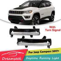 DRL For Jeep Compass 2017 2018 LED Daytime Running Light Fog Lamp With Turn Signal