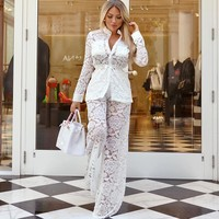 autumn women white Lace Long Sleeve Loose Coat Wide Leg casual fashion Suit mesh sexy transparent two piece set top and pants