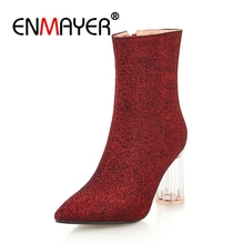 цены ENMAYER Women Ankle boots Pointed Toe High heels Short boots Autumn Winter boots Glitter shoes Thick heels Silver Zipper CR1203