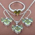 Heart Design Green Cubic Zircon Women's 925 Silver Jewelry Sets Necklace Pendant Earrings Rings Free Shipping TS068