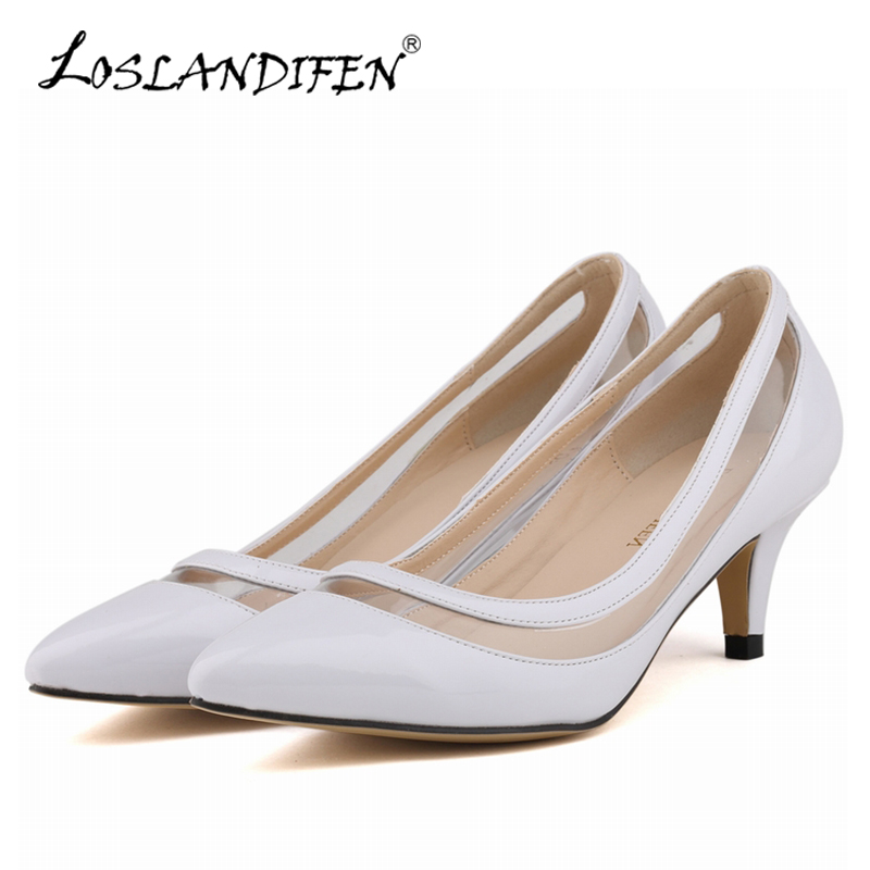 LOSLANDIFEN New Women Pumps Pointed Toe Transparent Spring Autumn Sexy Med Thin Heels Shoes Ladies Dress Wedding Shoes 678-2PA sexy pointed toe high heels women pumps shoes new spring brand design ladies wedding shoes summer dress pumps size 35 42 302 1pa