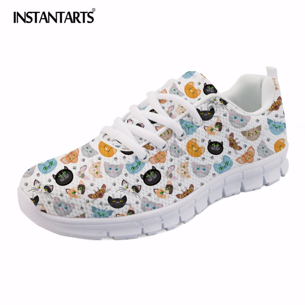 INSTANTARTS Women Spring Flats Cartoon Teen Girl Casual Mesh Sneakers Shoes 3D Cute Cat Pattern Lace Up Flat Shoes Zapatos Mujer instantarts pink sneakers women casual flats cute cartoon pediatrics bear doctor nurse pattern lady air mesh laces up flat shoes