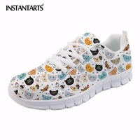 INSTANTARTS Women Spring Flats Cartoon Teen Girl Casual Mesh Sneakers Shoes 3D Cute Cat Pattern Lace Up Flat Shoes Zapatos Mujer