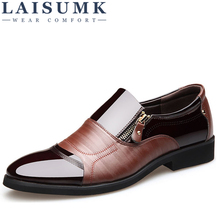 LAISUMK Fashion Men Dress Shoes Genuine Leather Oxford Shoes Lace Up Casual Business Formal Men Shoes Brand Men Wedding Shoes high quality 2017 top fashion genuine leather shoes men oxford style lace up shoes for men brand casual shoes men xf009 39 44