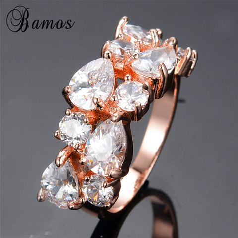Bamos New Retro Geometric Multicolor & White AAA Zircon Rainbow Rings For Women Rose Gold Filled Wedding Jewelry Best Lover Gift Karachi