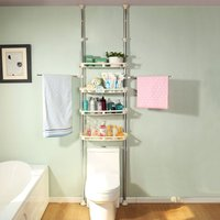 4 Tier Over the Toilet Storage Rack Bathroom Adjustable Organizer Shelf with Towel Bars Simple Assembly DQ0777 25C