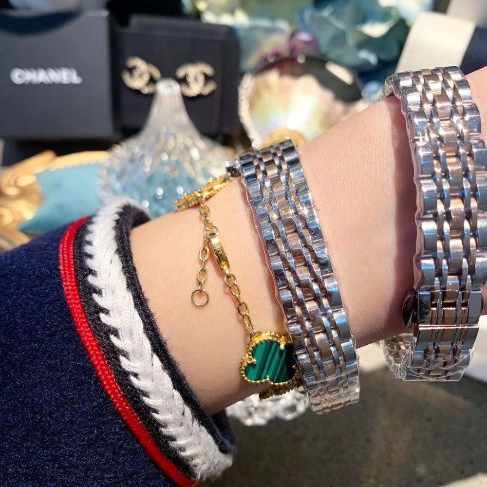 2 tailles classique numéro romain femmes affaires montres de luxe strass Bracelet montre Quartz Shell visage analogique diamant montre-Bracelet - 3