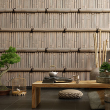Retro 3d stereoscopic bamboo wallpaper Chinese style vintage tea house restaurant Japanese bar restaurant waterproof wallpaper
