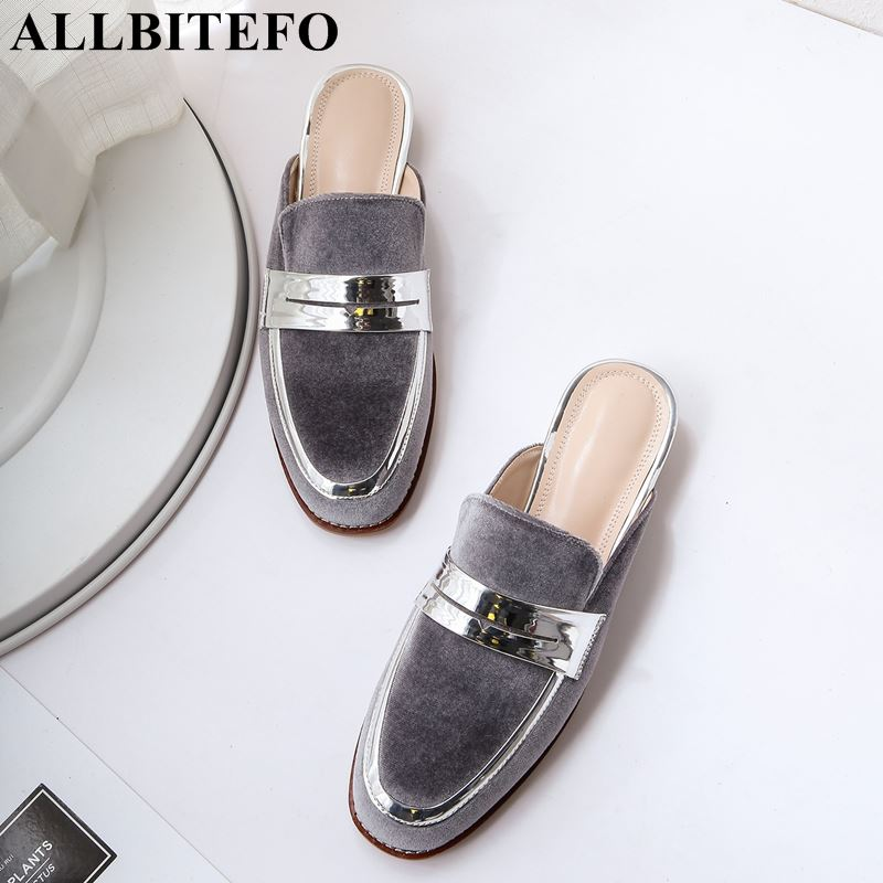 ALLBITEFO fashion women summer sandals low heel shoes flock comfortable sandals pure sandals ladies girls sandlas woman shoes