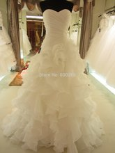 Hot Sale Real Picture Organza Sweetheart Ruffle 2015 Wedding Dress/Bridal Gown SL-7070
