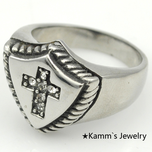 Cross Shield Bikers Ring Stanless Steel Quality rings gothic silver jewelry punk finger ring man mens Party Flying Rock KR299