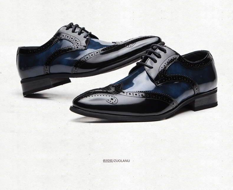 newest arriwal free shipping genuine leather shine black brogue men shoes  italian handmade pointed toe dress party formal shoes
