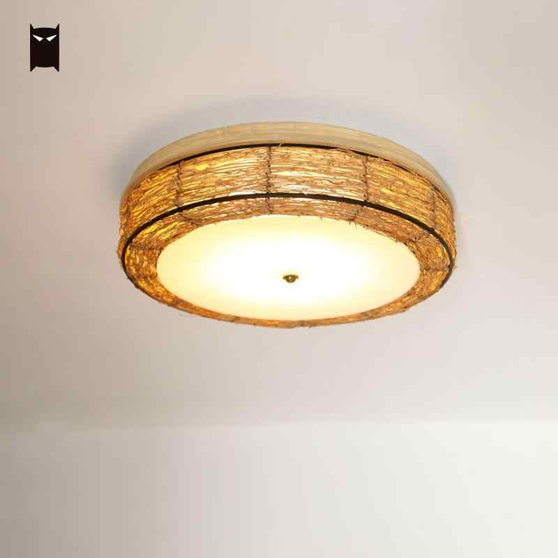 Wood Wicker Rattan Round Ceiling Light